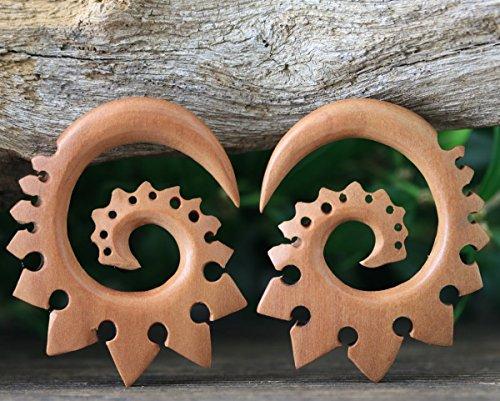 - 0 Gauge 8mm 0G Balinese Hand-carved Real Gauge Earrings Tribal Style Expander