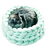 Chunky Braid Cat Bed,Chunky Knit Pet Bed,Cotton Chunky Crochet Cat Bed,Pet Cave,Pet Bedding,Knit House,Cat Cave,Pet House,Pet Basket (Diameter-14inch, Mint)
