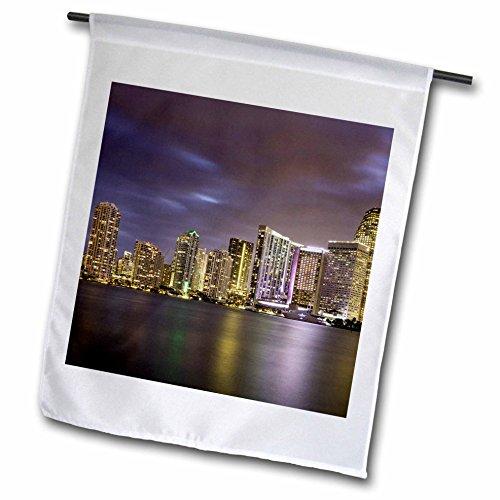 3dRose Danita Delimont - Cities - Evening twilight over Miami Skyline, Miami, Florida, USA - 18 x 27 inch Garden Flag - Miami Fl Downtown