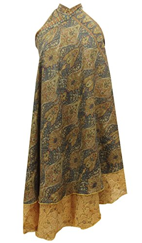 Sheshe Pure Silk Paisley Print Reversible Magic Wrap Hippie Vintage Saree Skirt Hippie Silk Skirt