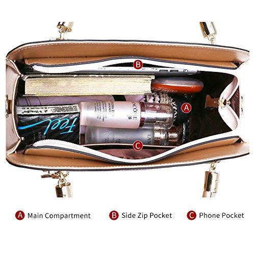 b7a9d0b57307 FOXER Women Leather Handbag Purse Top Handle Crossbody Bag Leather Tote  Shoulder Bag (Gold)
