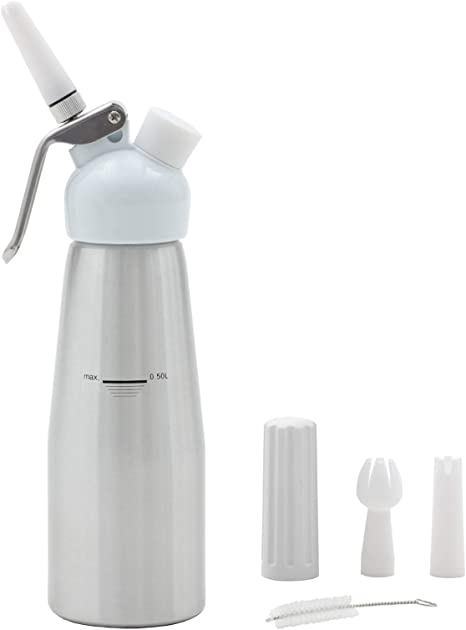 Ice cream Shakes Whipped Cream Maker Whip Cream Canister for Cake Decorating ARTISHION Professional Whipped Cream Dispenser 500ml with 3 Plastic Nozzles and 1 Cleaning Brush Pastry Cream