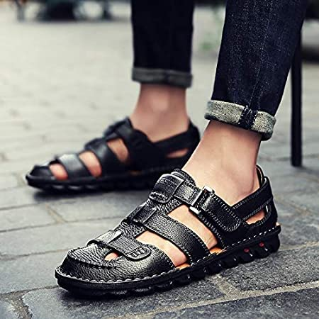 Color : 46 Yydt Mens Shoes Outdoor Sports Mens Sandals Leather Toe Cap Casual Sandals Beach Shoes Mens Shoes Mens Shoes