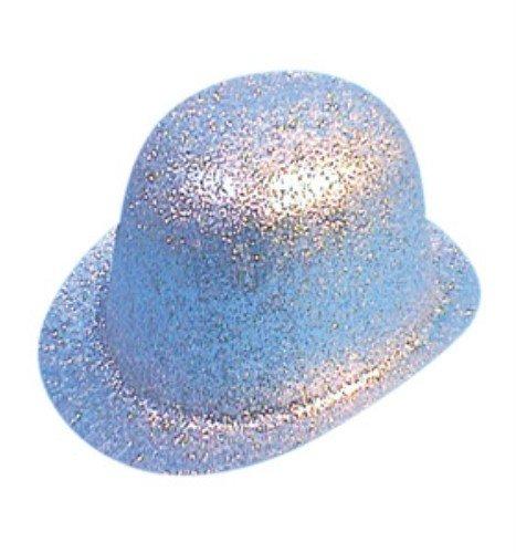 Pams Hat: Glitter Bowler Silver Pvc