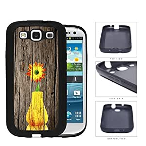 Yellow Vase Sunflower On Wood Bark Rubber Silicone TPU Cell Phone Case Samsung Galaxy S3 SIII I9300