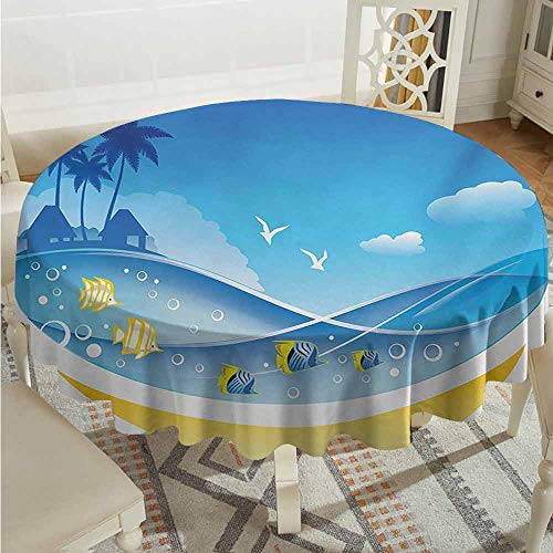 XXANS Spillproof Tablecloth,Tropical Animals,Exotic Sea Waves in Fauna Frame with Gulls and Coconut Trees Journey,for Events Party Restaurant Dining Table Cover,63 INCH,Blue Yellow