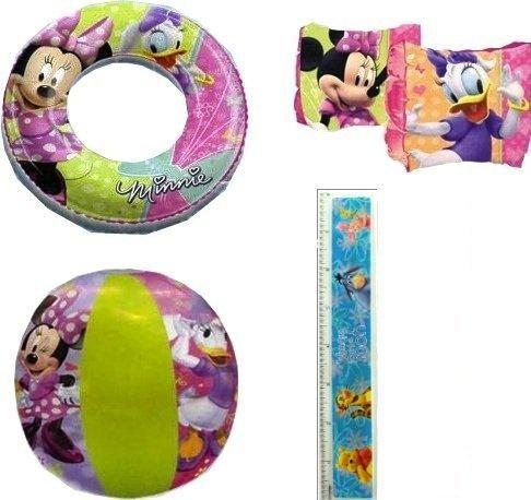 4-piece Minnie Mouse Pool Toy Swim Set: Disney Minnie Mouse Cartoon Characters Beach Ball (16