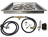 Square Gas Fire Pit Drop In Pan with Burner, Gas Connections and Spark Ignition System Propane Version