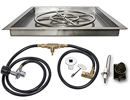 American Fireglass Square Gas Fire Pit Drop In Pan With Burner Gas Connections And Spark Ignition System Propane Version
