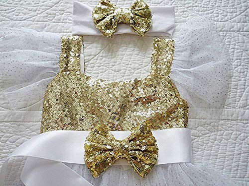 Girl's Gold Sequin Bow Dress Sash, White Satin Ribbon Belt, Birthday, Flower Girl Fashions. Photo Prop, Weddings.