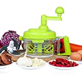 salsa dicer - Manual Vegetable Cutter Food Processor 8 in 1 - Chopper, Mixer, Blender, Whipper, Egg Separator, Mincer, Grinder, Dicer with Clear Container 1200ml by Valuetools