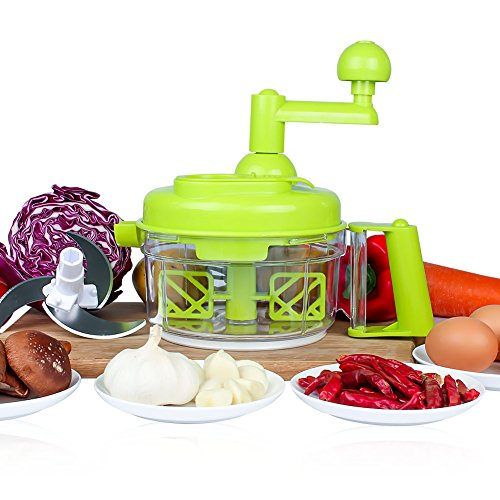 Manual Vegetable Cutter Food Processor 8 in 1 - Chopper, Mixer, Blender, Whipper, Egg Separator, Mincer, Grinder, Dicer with Clear Container 1200ml by Valuetools