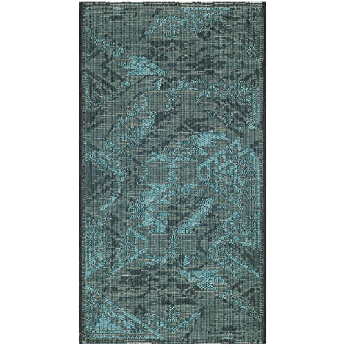 Safavieh Palazzo Collection PAL122-56C4 Black and Turquoise Area Rug 5 x 8