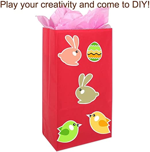 3.15 9.45 Mini Kraft Paper Bags Flat Bottom Party Bags Grocery Bags with 80 Pieces Stickers for Birthday Tea Wedding Party Supplies Red Acidea 50 Pieces 5.11