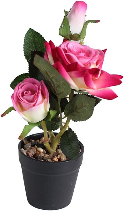 Ramo de Flores Artificiales de Color Fucsia, Maceta de Rosas Artificiales, bonsái, Planta de jardín, Boda, decoración para el hogar, Fiesta, Color Rosa Oscuro: Amazon.es: Hogar