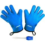 Heat Resistant BBQ Cooking Gloves & Oven Mitts. Insulated Silicone With Protective Lining