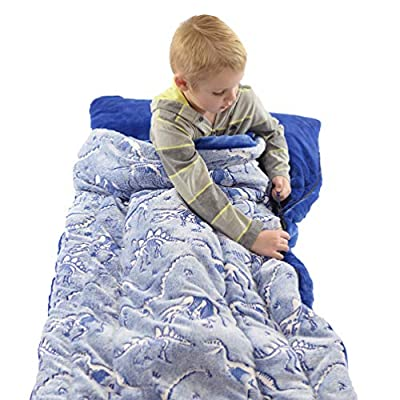 Dinosaur Sleeping Bag Glow in The Dark Dino Slumber Bag for Boys - Plush Glowing T-Rex Nap Mat for Kids- Luminescent Blue Large 66in x 30in Warm Durable Sleeping Blanket Pad for Girls - Dinosaur Gift: Sports & Outdoors