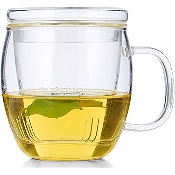 TIANXI Personal All Glass Made Tea Infuser & Mug Teapot 450 ml