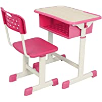 SSLine Kids Study Desk and Chair Set Height Adjustable Student Table Set Children Home School Workstation Desk with Drawer for 3-14 Years Old (Pink)