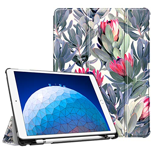 Fintie Case for iPad Air (3rd Gen) 10.5 2019 / iPad Pro 10.5 2017 - [SlimShell] Ultra Lightweight Standing Protective Cover with Built-in Pencil Holder, Auto Wake/Sleep (Protea Paradise)