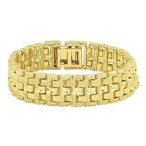 Wide Link Diamond Bracelet (Large 18mm 14k Gold Plated Diamond-Cut Thick Panther Link Bracelet, 9
