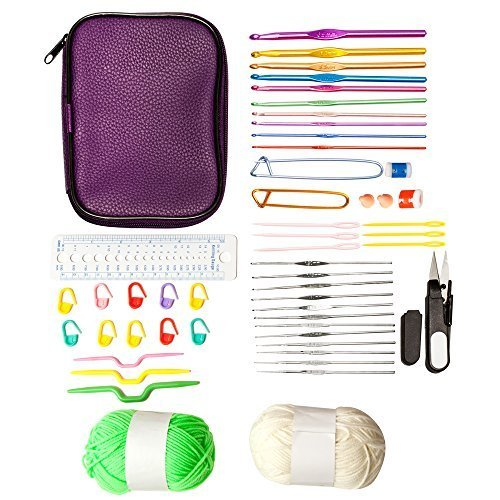 (PureNoor Supplies 22pcs Aluminium Crochet Hooks Knitting Knit Needles Weave Yarn Set - 27 Crochet Accessories and 2 Yarn Balls - in Sturdy Travel Crochet Hooks Case)