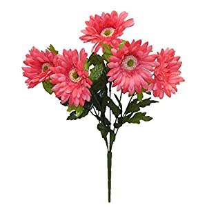 "21"" Satin Gerbera Daisy Bush Silk Wedding Flowers Home Party Decorations 5 Daisies 118"