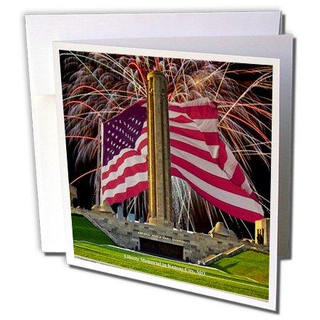 Kansas City Memorial - 3dRose Sandy Mertens Missouri - Kansas City Liberty Memorial with Fireworks and Flag - 1 Greeting Card with envelope (gc_47348_5)