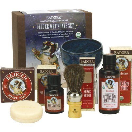 Badger Deluxe Wet Shave Set - Includes Pre-Shave Oil, Sha...
