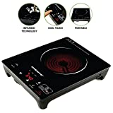 Ovente Infrared Countertop Burner, Cool-Touch Ceramic Glass Cooktop with Temperature Control, Timer, 1200-Watts, Digital LED Touchscreen Display, Single Plate Indoor/Outdoor Portable Hot Plate (BG44S)