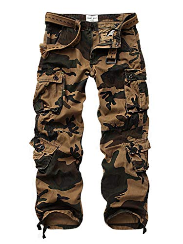 AUSZOSLT Men's Casual Active Military Cargo Camouflage Combat Pants Trousers with 8 Pocket AF Camo 38
