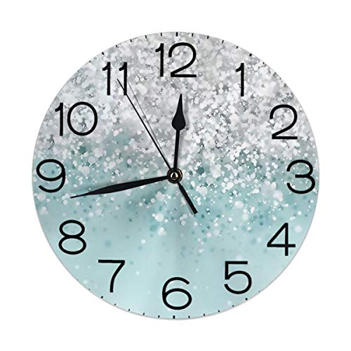 Socira Round Wall Clock Desk Clock Novelty Green White Glitter Background Printed for Indoor/Bathroom/Kitchen/Classroom Decorative Whisper Numbers Display Battery Operated 9.84 Inch