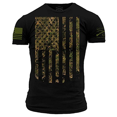 Grunt Style Outdoors Camo Flag Men's T-Shirt, Color Black, Size Small