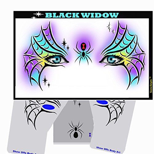 Halloween Face Painting Stencil - StencilEyes Black Widow by ShowOffs Body Art