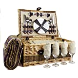 The Hadrian 4 Person Wicker Picnic Basket Set includes Purple Blanket - Gift ideas for Valentines, him, her, Birthday, Wedding, Anniversary, Corporate, Business, Thank you, Outdoor, Family, Vacation
