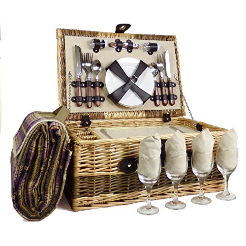 The Hadrian 4 Person Wicker Picnic Basket Set includes Purple Blanket - Gift ideas for Christmas presents, Birthday, Wedding gifts, Anniversary