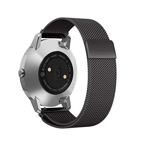 Shangpule Replacement Bands for Withings Nokia Steel HR Tracker, Stainless Steel Metal Bracelet Strap for Withings Nokia Steel HR 40mm/36mm (Milanese Black, 40mm)