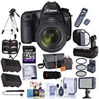 Canon EOS-5D Mark III DSLR Camera with EF 24-70mm f/4L IS Lens - Bundle w/64GB SDXC Card, Zoom Case,2x Spare Batteries, Battery Grip, Wireless Remote Shutter, Cleaning Kit, Software Package and More