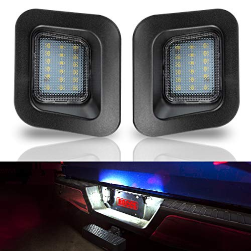 - ROCCS LED License Plate Light Lamp Assembly Replacement For 2003-2018 Dodge RAM 1500 2500 3500 Pickup Truck, White LED Lights