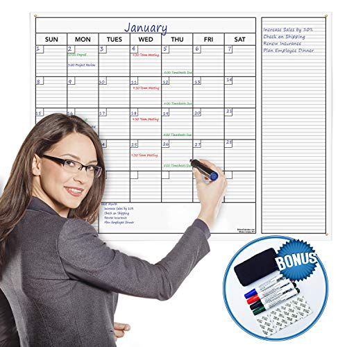 Delane Large Dry Erase Wall Calendar Planner, 24 x 36 Inch Erasable Calendar with Notes Section - Jumbo