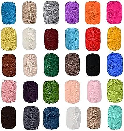 12x 50gramos Multicolor lana algodón en Juego, 100% Cotton lana tejer ganchillo tejeduría Negro, Azul, Gris, Rojo, Verde, Beige, Marrón etc Colores No seleccionables