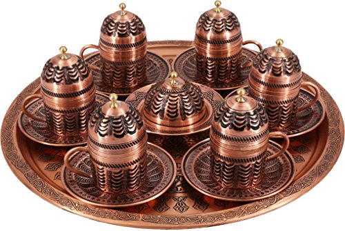 Traditional Design Handmade Copper Turkish Arabic Armenian Coffee Set Espresso Set Tea Set for Six-(CS6-114)