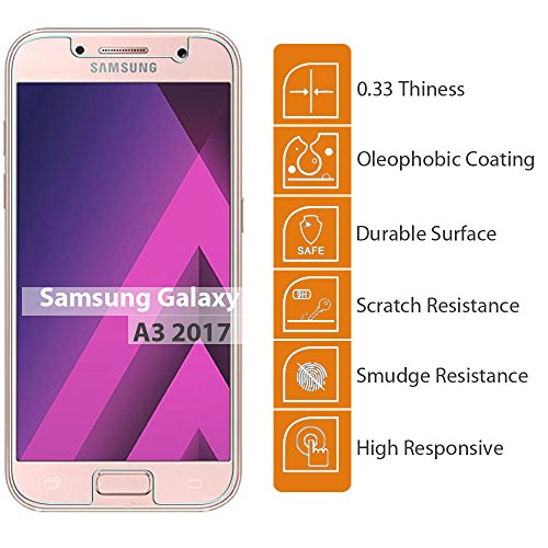 [2-Pack]Galaxy A3(2017) Tempered Glass Screen Protector, ZeKing 0.33mm 2.5D Edge 9H Hardness [Anti Scratch][Anti-Fingerprint] Bubble Free, Lifetime Replacement Warranty Photo #4