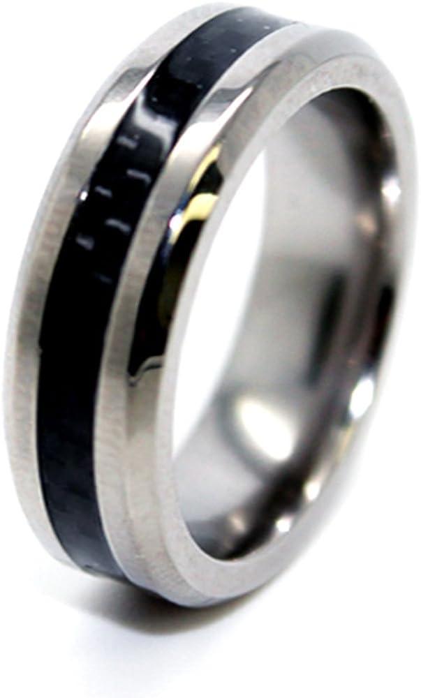 Slim 6mm Titanium with Black Carbon Fiber Inlay Wedding Band Size 10.5 10 1//2