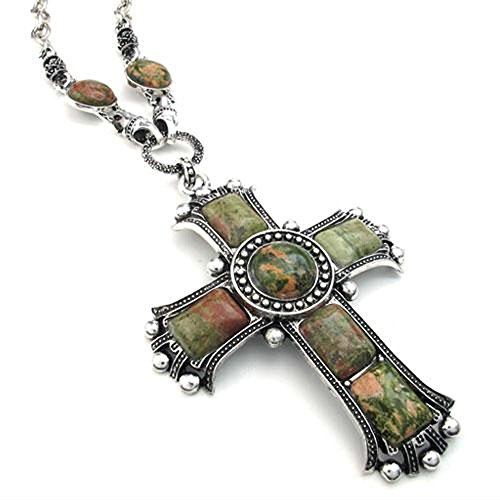 Man Green Silver Pendant (Jonline24h Mens Womens Vintage Large Gothic Cross Pendant Necklace & Chain, Red Silver (Green))