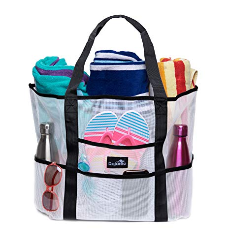 Dejaroo Mesh Beach Bag - Toy Tote Bag - Large Lightweight Market, Grocery & Picnic Tote with Oversized Pockets (White with Black Handles)