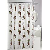 Moda at Home 254621 Curly Cat PEVA Waterproof Shower Curtain, 70-Inch X 72-Inch, White, Green, and Brown