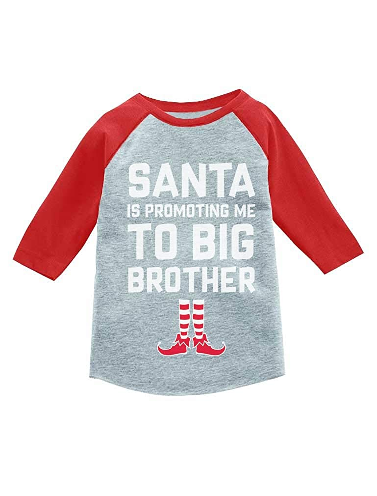 Tstars Christmas Promoted to Big Brother 3/4 Sleeve Baseball Jersey Toddler Shirt GaMPhrZgm8