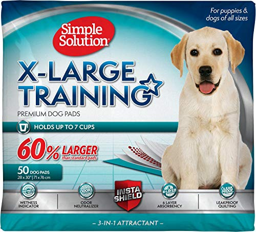 Simple Solution Training Puppy Pads | Extra Large, 6 Layer Dog Pee Pads, Absorbs Up to 7 Cups of Liquid | 28x30 Inches, 200 Count