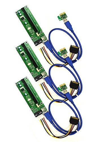 PCI-E 1x to 16x Powered Riser Adapter Card w/ 60cm USB 3.0 Extension Cable & MOLEX to SATA Power Cable - GPU Riser Extender Cable - Ethereum Mining ETH (3 Pack)
